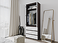 Шкаф для одежды с 3 ящиками Дуб Венге Магия/Белый, фото 3