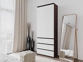 Шкаф для одежды с 3 ящиками Дуб Венге Магия/Белый