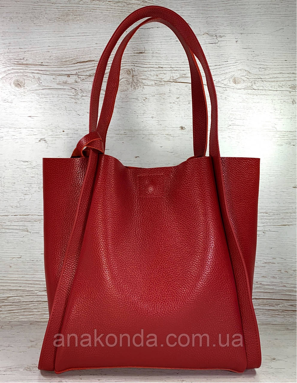156 Натуральная кожа, Сумка женская шоппер красная красная Кожаная натуральная сумка женская на плечо красная