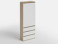 Шкаф для одежды с 3 ящиками Дуб Сонома/Белый, фото 2