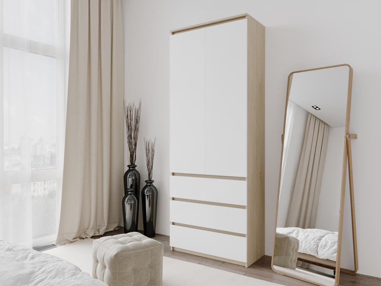 Шкаф для одежды с 3 ящиками Дуб Сонома/Белый