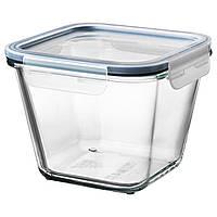 Контейнер для продуктов питания с крышкой IKEA, пластик стекло, 1.2 л