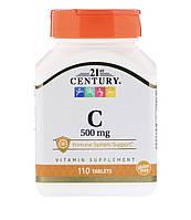 21st CENTURY Витамин С, 500 мг, 110 таблеток, фото 1