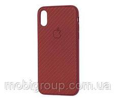 Чехол Carbon Silicone Case для iPhone XR, Бордовый