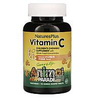 Natures Plus Vitamin C, Animal Parade вкус натурального апельсинового сока, 90 таблеток в форме животных, фото 1