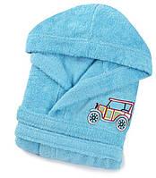 Детский махровый халат Lotus Car бирюзовый 5-6 лет