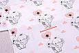 Сатин (хлопковая ткань) слоники с персиковым сердечком (25*160), фото 2