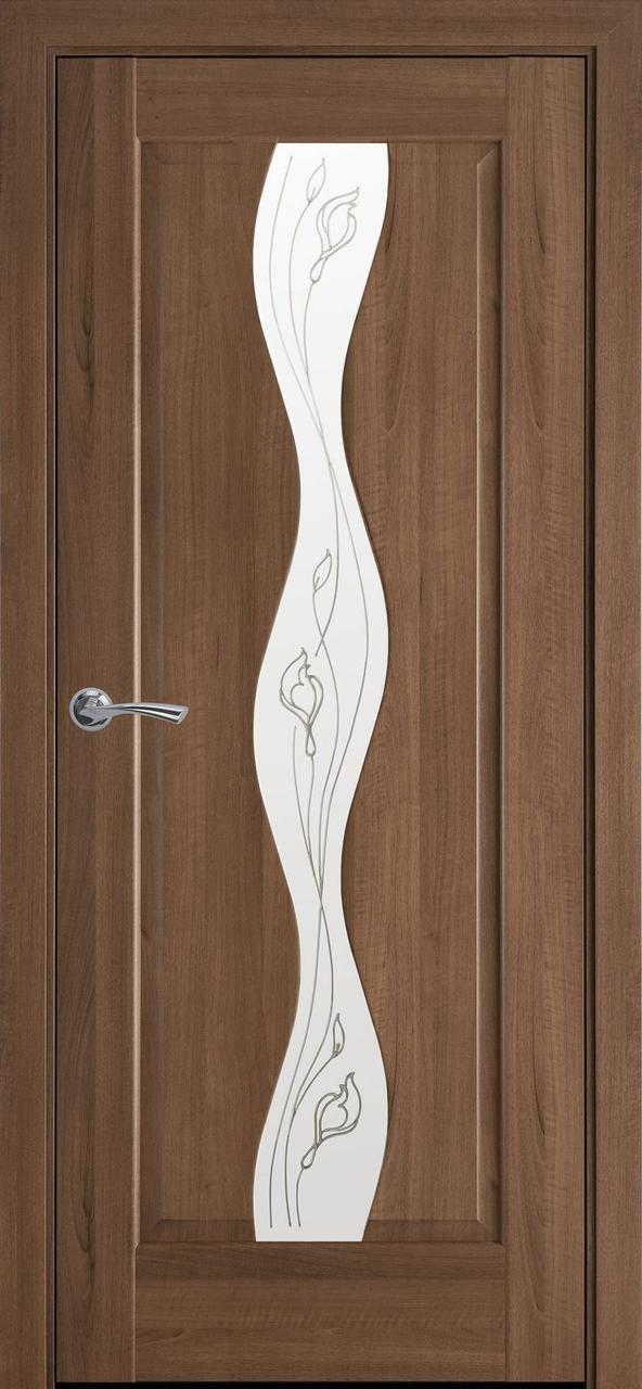 """Дверь межкомнатная """"Новый Стиль"""" модель Волна Р2, золотая ольха (стекло с прозрачным рисунком)"""