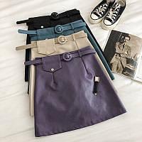 Шикарная кожаная юбка с ремешком, фото 1