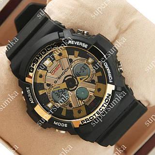 Стильные наручные спортивные часы Casio GA-200 Black/Gold 647
