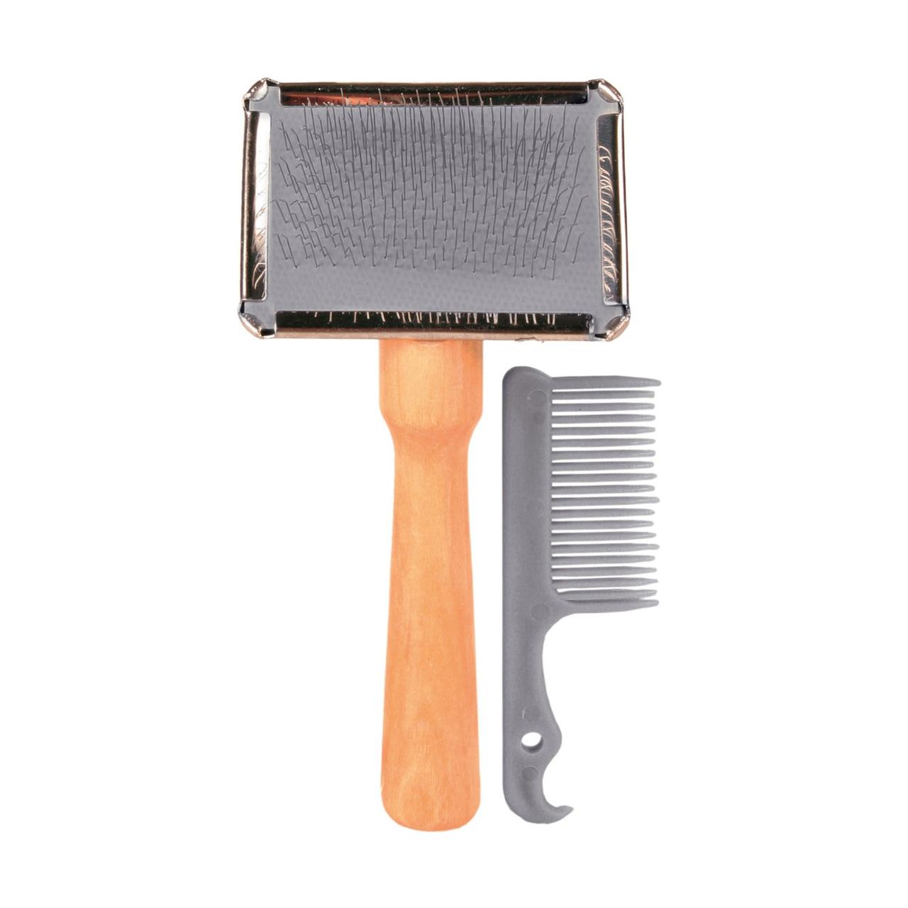 Щётка-пуходёрка с деревянной ручкой и пластиковая расчёска Trixie 6 см / 13 см, набор