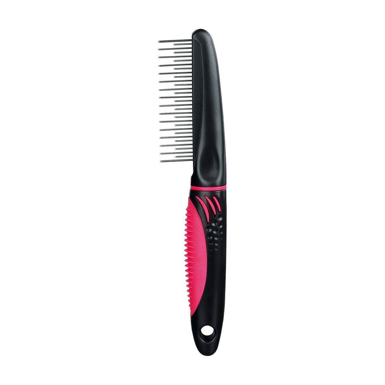 Расчёска Trixie с пластиковой ручкой, коротким и длинным зубом 22 см (с розовой ручкой)