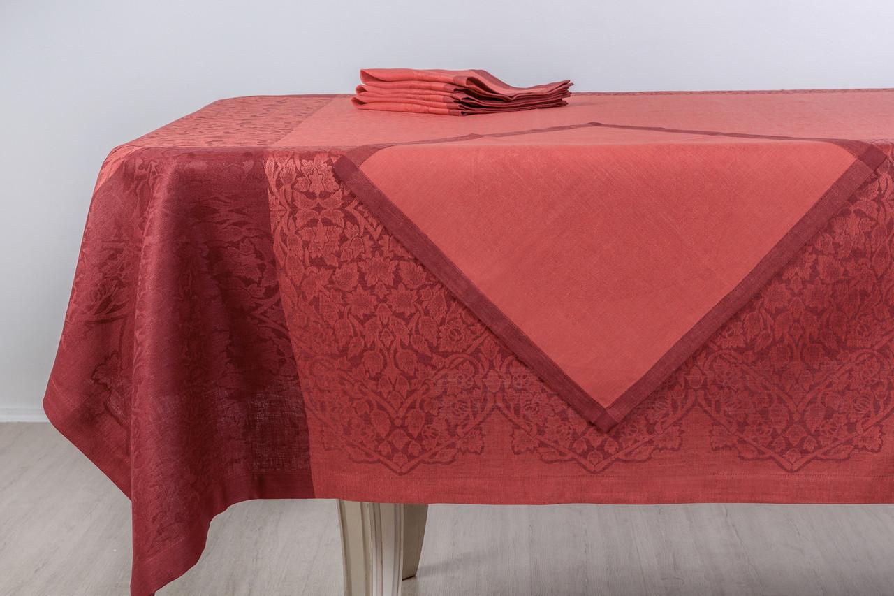 Льняной комплект столового белья красного цвета, цвет 123/3