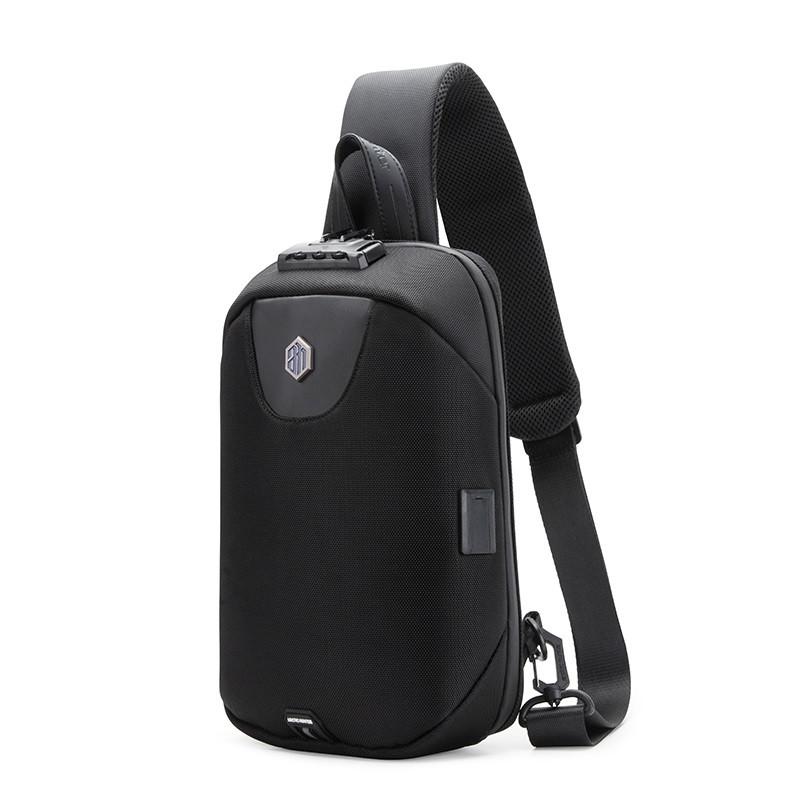 Рюкзак с одной лямкой Arctic Hunter XB00115, с USB портом, кодовым замком, защитой от дождя, 5л