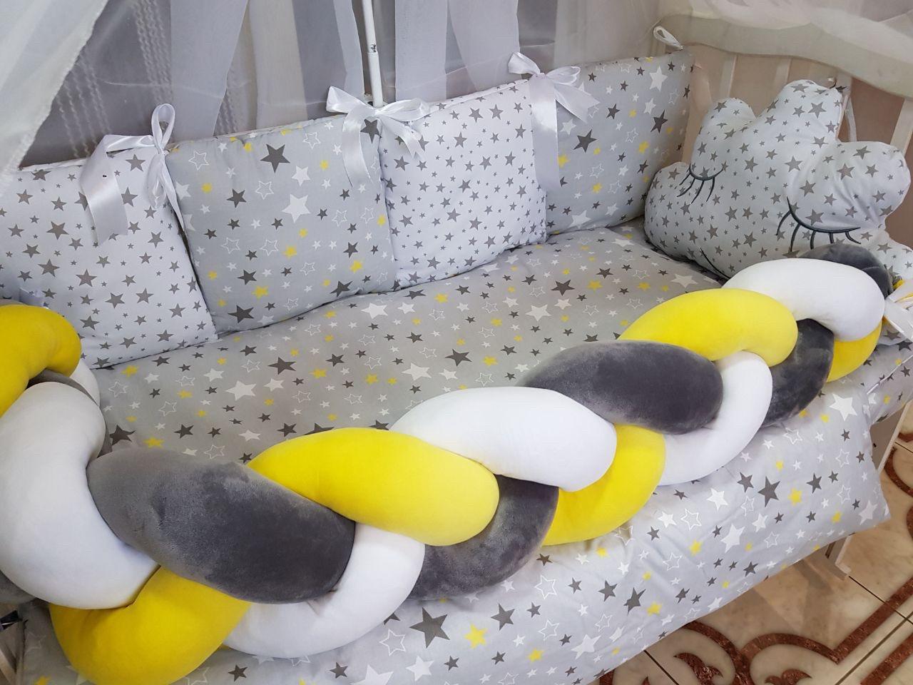Комплект постельного Коса  в кроватку + крепление  для балдахина( 9предметов)