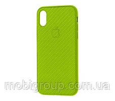 Чехол Carbon Silicone Case для iPhone XR, Салатовый