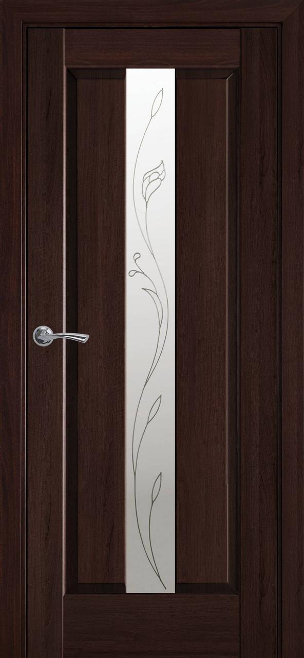 """Дверь межкомнатная """"Новый Стиль"""" модель Премьера Р2, каштан (стекло с прозрачным рисунком)"""