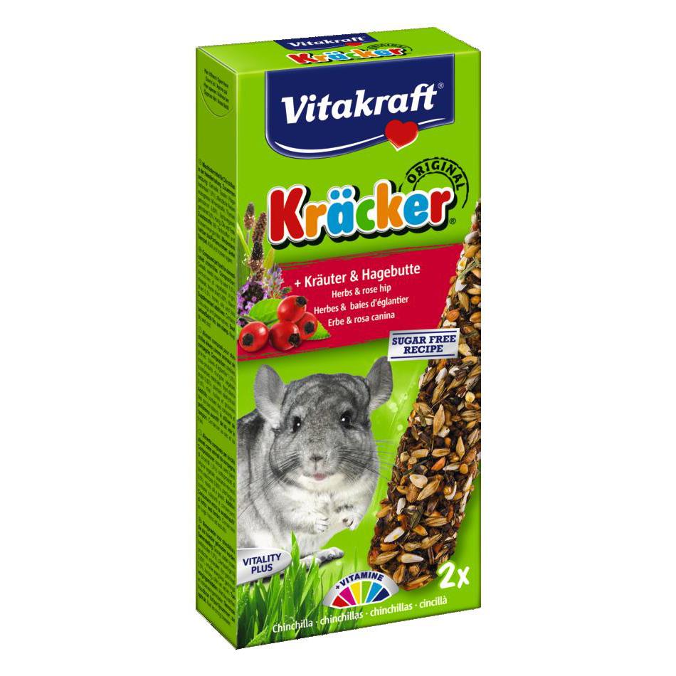 Лакомство для шиншилл Vitakraft «Kracker Original + Herbs & Rose Hip» 2 шт. (трава)