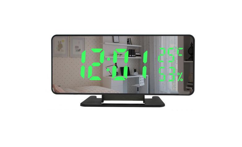 Настольные часы  с зеркальной поверхностью + зеленая подсветка VST-888Y Черные