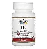 21st CENTURY Витамин D3 25 mcg, (1000MU), 60 таблеток