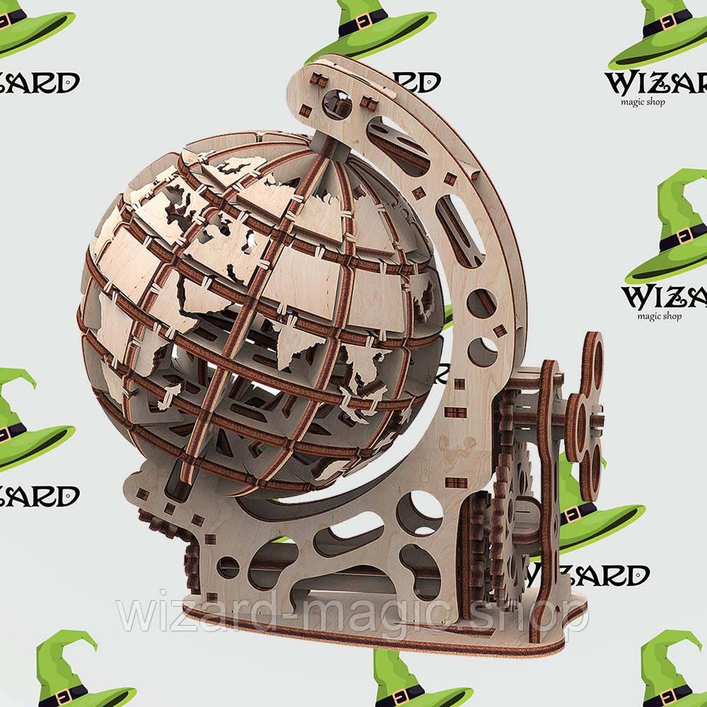 Механическая деревянная 3D модель Глобус S