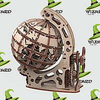 Механическая деревянная 3D модель Глобус S, фото 1