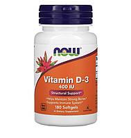 Now Foods Витамин D3, 400 MU, 180 таблеток, фото 1