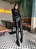 Женские кожаные брюки на флисе с талией на резинке