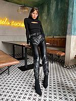 Женские кожаные брюки на флисе с талией на резинке, фото 1