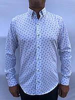 Мужская рубашка полуприталенная праздничная 2XL-46