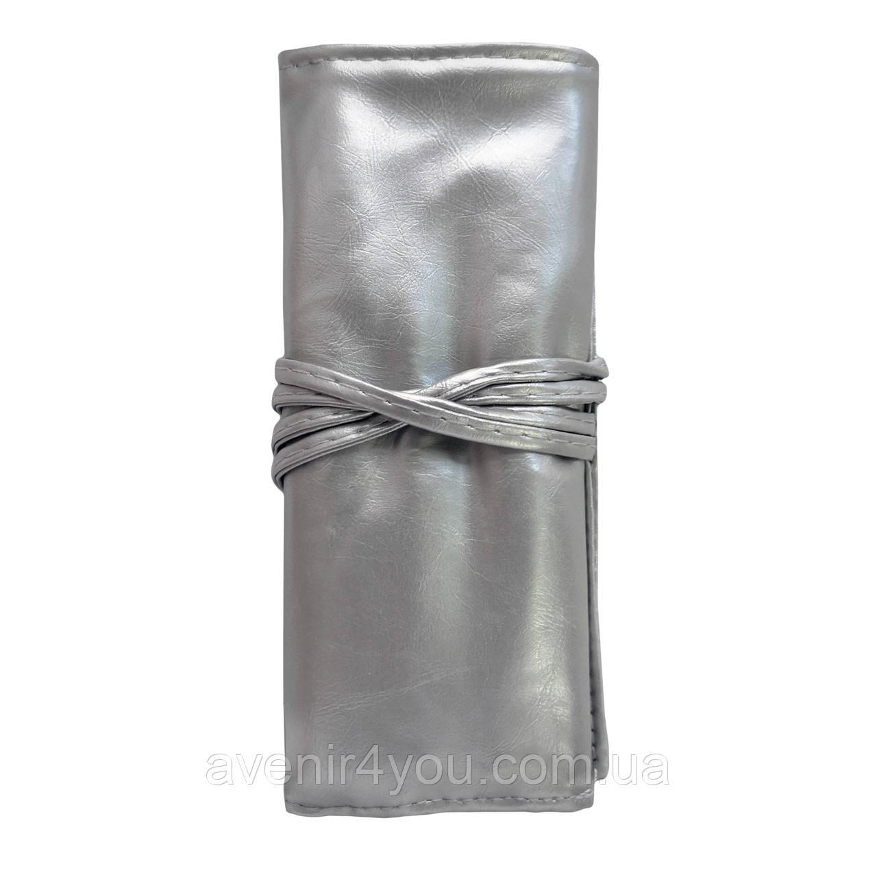 Набор кистей для макияжа 7 шт в чехле Серебряный