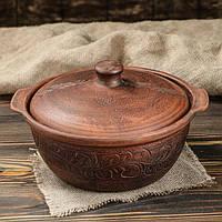 Жаровня конус красная керамика 2,2 л резная (744)