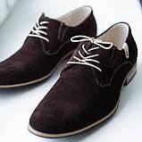 Туфлі дербі замшеві, коричневі Lucky Choice, фото 4