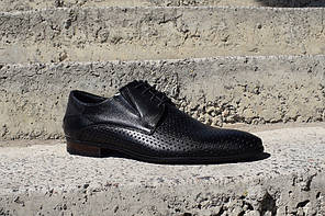 Туфлі Pan з перфорацією, чорні, фото 2
