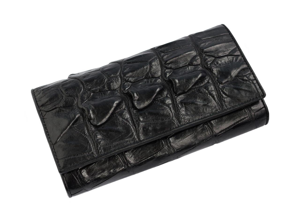 Кошелек из кожи крокодила  Ekzotic Leather черный (cw 18_1)