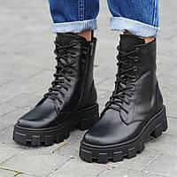 Ботинки женские зимние кожаные черные на толстой подошве, женские берцы (код 6601)