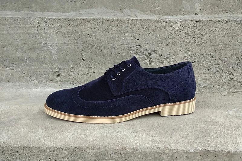 Туфлі броги, сині замшеві