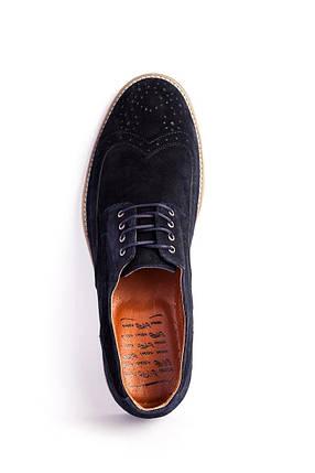 Туфлі броги, сині замшеві, фото 2