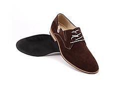 Туфлі дербі замшеві, коричневі., фото 2