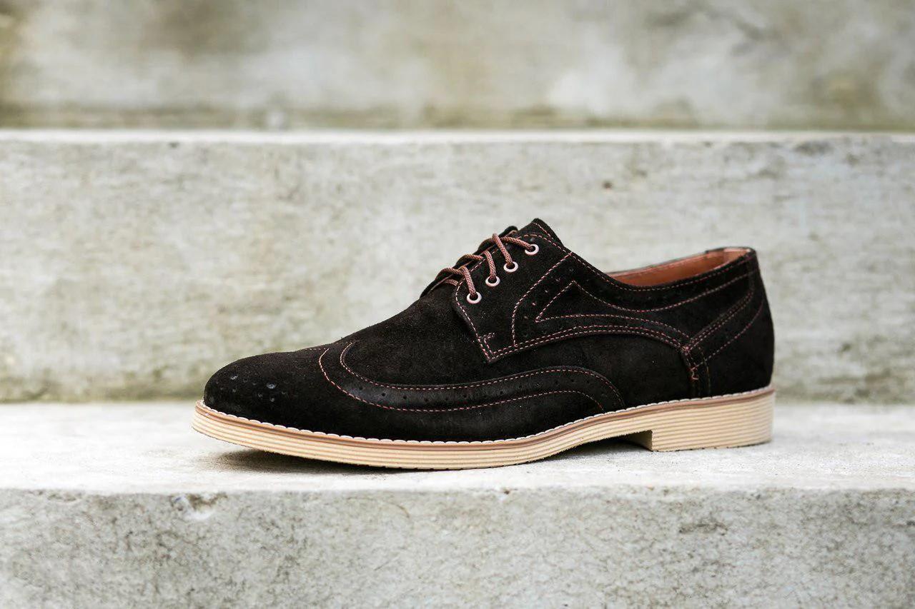 Туфлі броги коричневі замшеві.