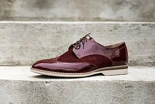 Вишневі лаковані туфлі боргі., фото 2