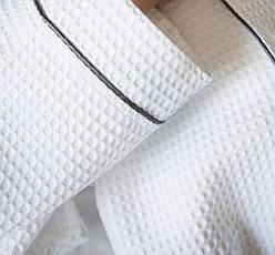 Женский вафельный халат XL с графитовым кантом, фото 3