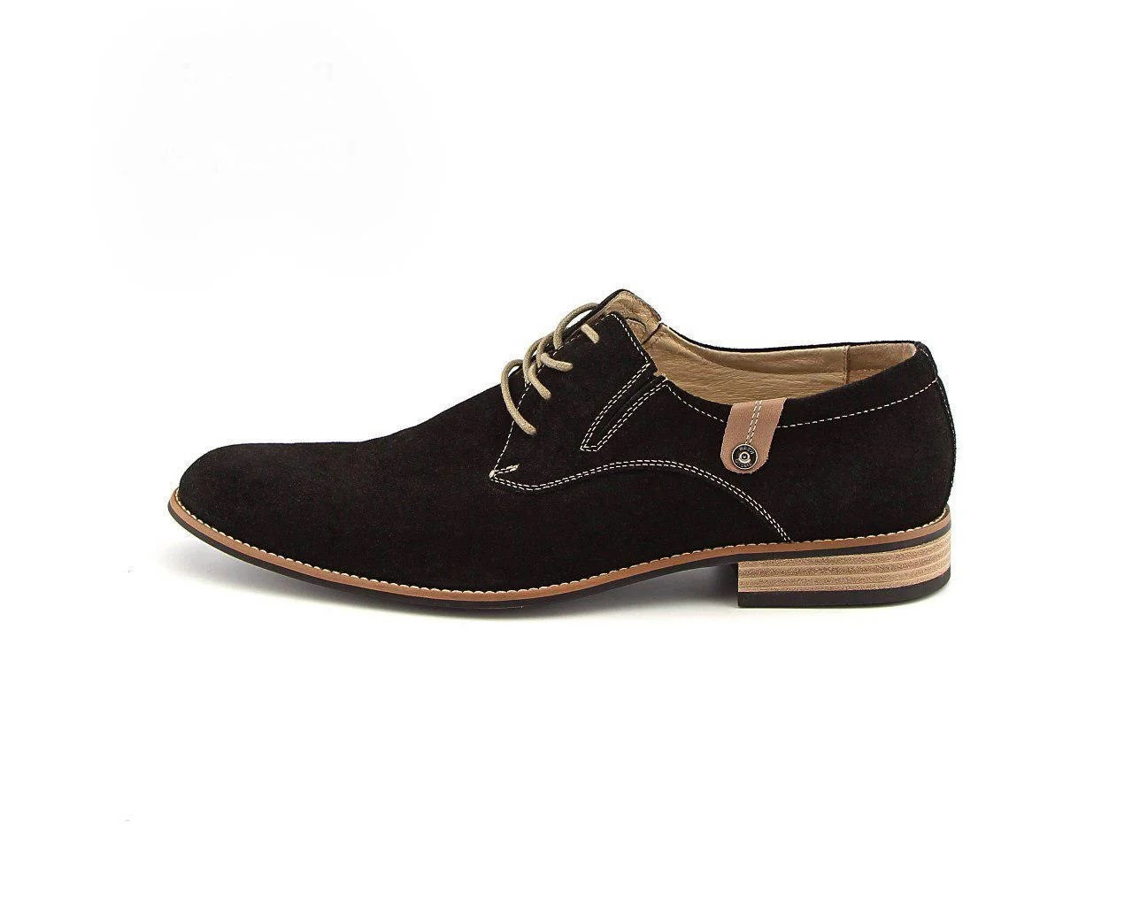 Туфлі дербі замшеві, чорні.