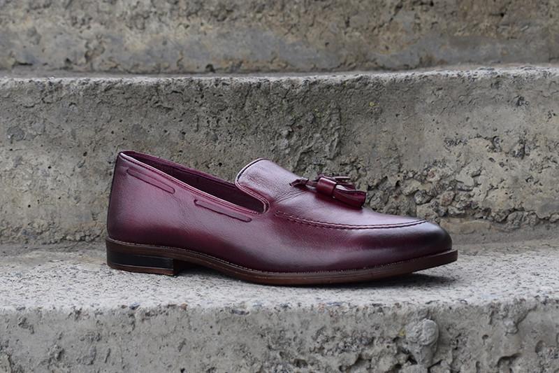 Туфлі лофери, бордові.