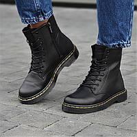 Ботинки женские зимние кожаные черные  (код 6602)