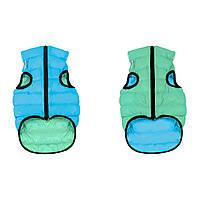 Двусторонняя курточка для собак AiryVest Lumi салатово-голубая, размер L55
