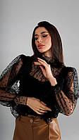 Женская вечерняя ажурная блузка черная
