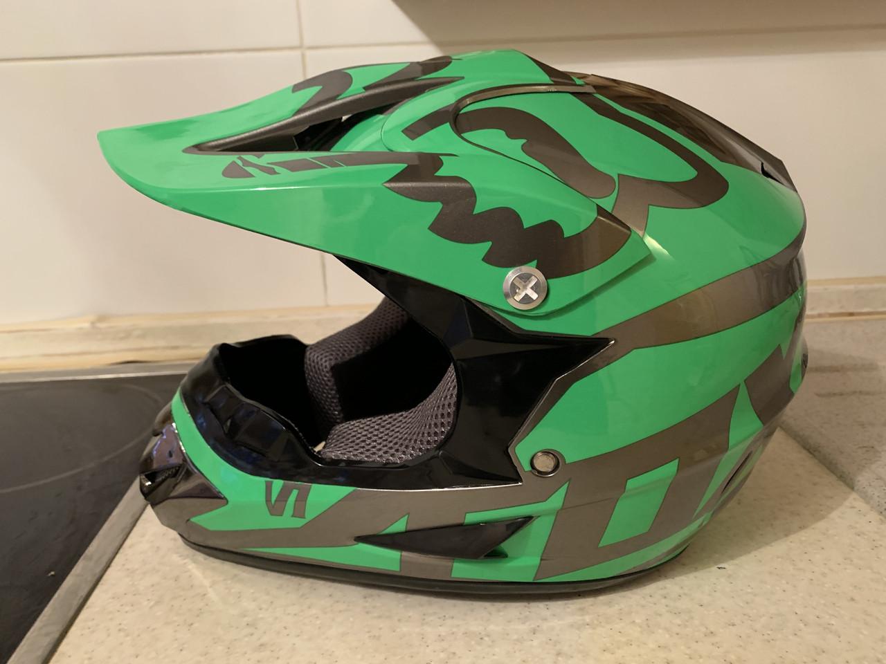 Детский зелёный  мото кроссовый шлем  фулфейс Fox  (эндуро, даунхил)