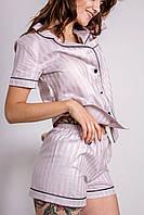 Пижама женская хлопковая с кантом в полоску, фото 1