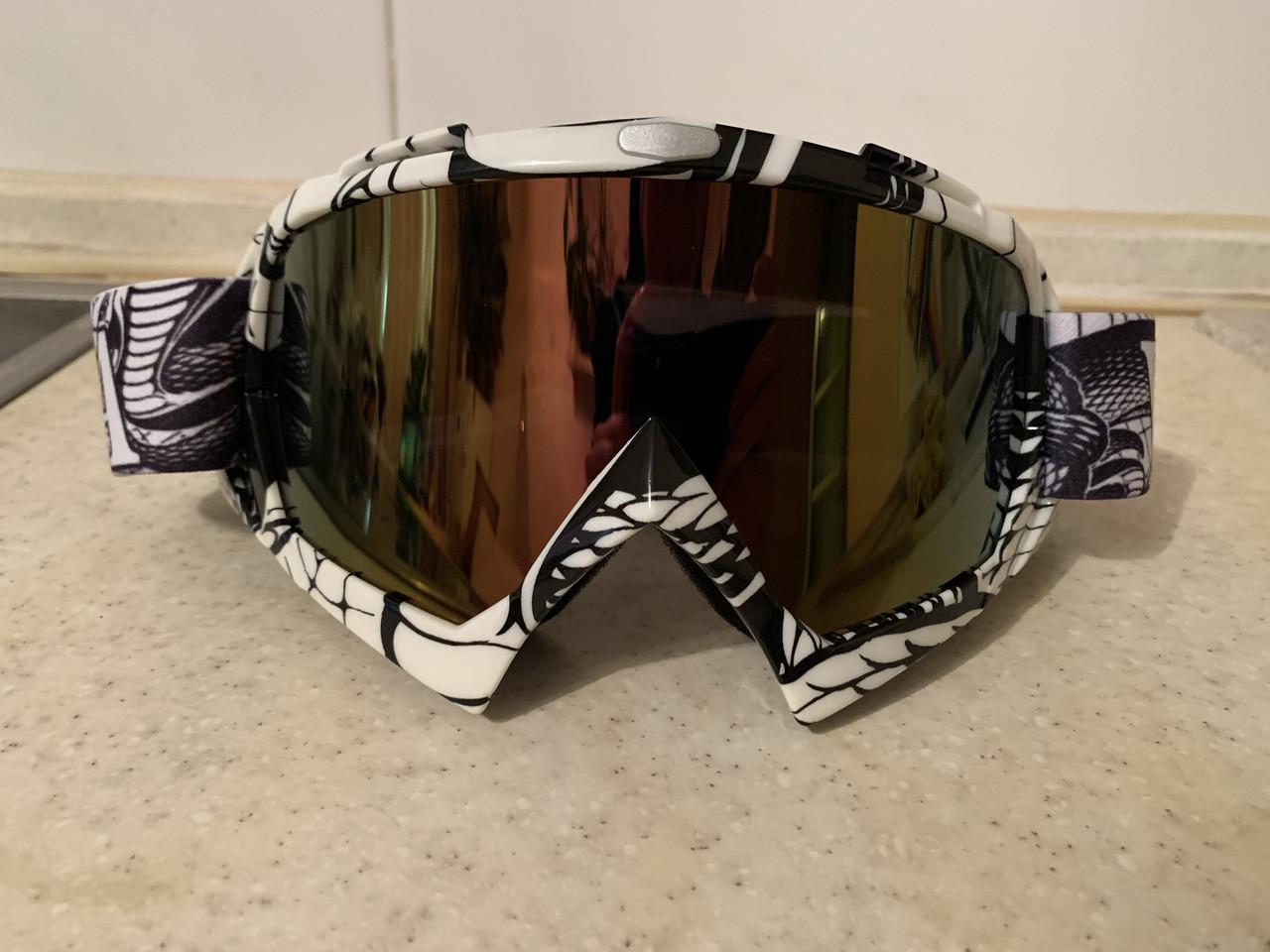 Разноцветная белая маска  хамелеон очки для кроссового мотоцикла для горнолыжного шлема сноуборд